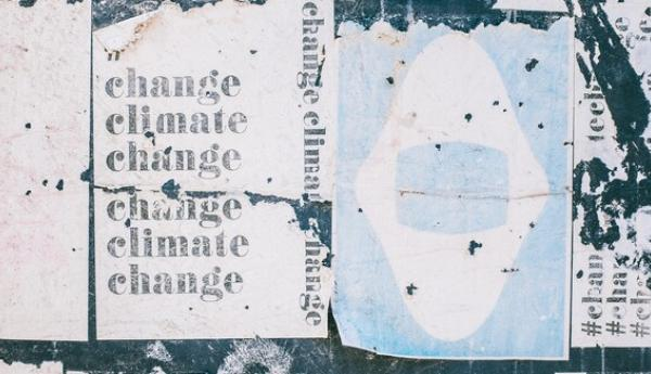 Illustration of posters saying climate change