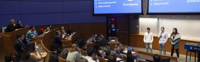 Three students pitch Snackpass to crowd